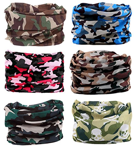 Shops Pro Bass Camo (KINGREE 6PCS Outdoor Magic Scarf, High Elastic Womens and Mens Headbands with UV Resistance, Headscarves, Headwear, Mask (Land Camo))