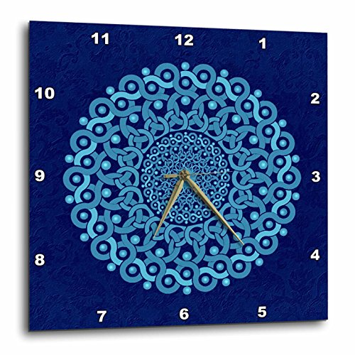 Plate Cobalt Blue Clock (3dRose Turquoise and Cobalt Blue Fantasy Mandala on Royal Blue Muted Grunge Damask - Wall Clock, 13 by 13-Inch (DPP_32175_2))