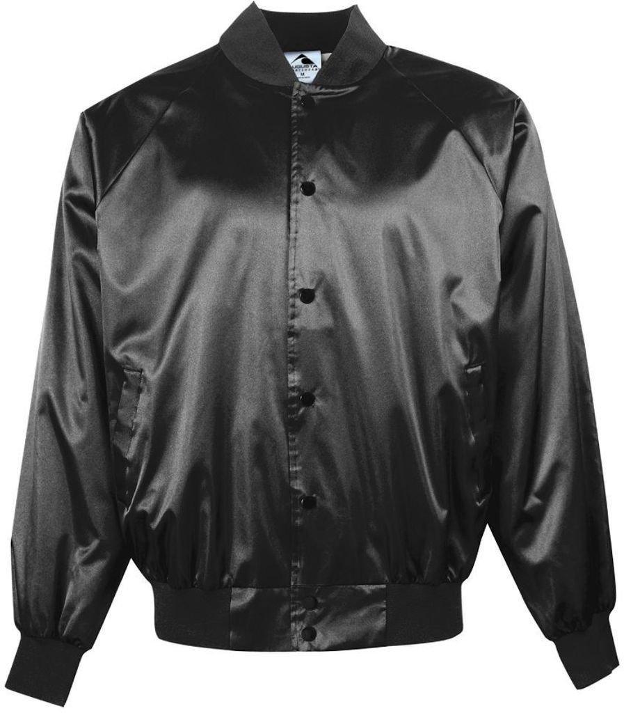 Augusta Sportswearメンズサテンベースボールジャケット/ソリッドトリム B00ID7JE8G 6L|ブラック ブラック 6L