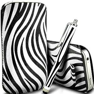 ONX3 Wiko Cink Peax 2 Dual Sim PU Leather Slip cuerda del tirón protector Cebra En la bolsa del lanzamiento rápido con Mini capacitivo Stylus Pen (Blanco y Negro)