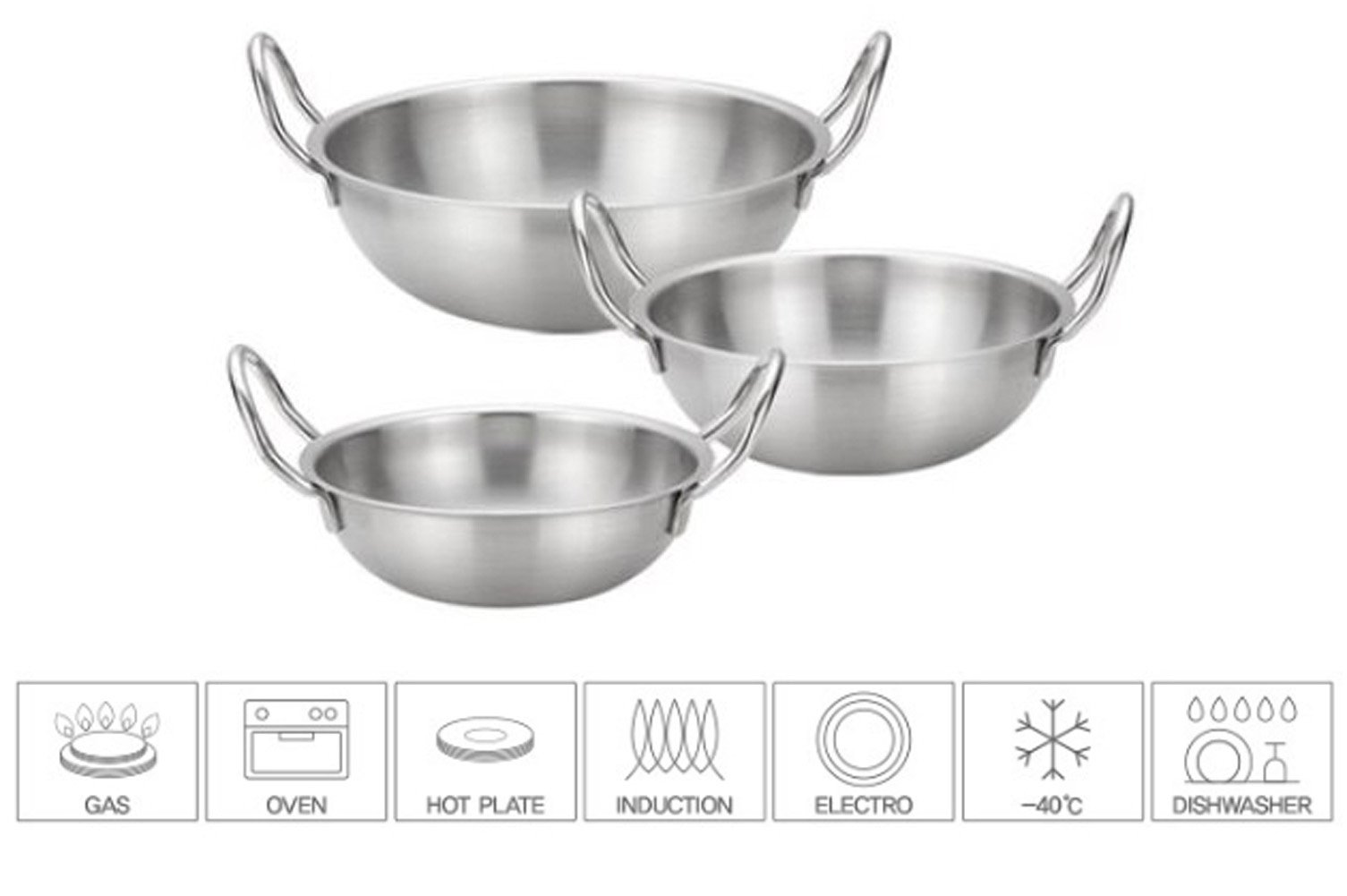 Bonito Stainless Steel 18-8 Stainless Steel Bowl Pot Set of 3 Salad Vegetable