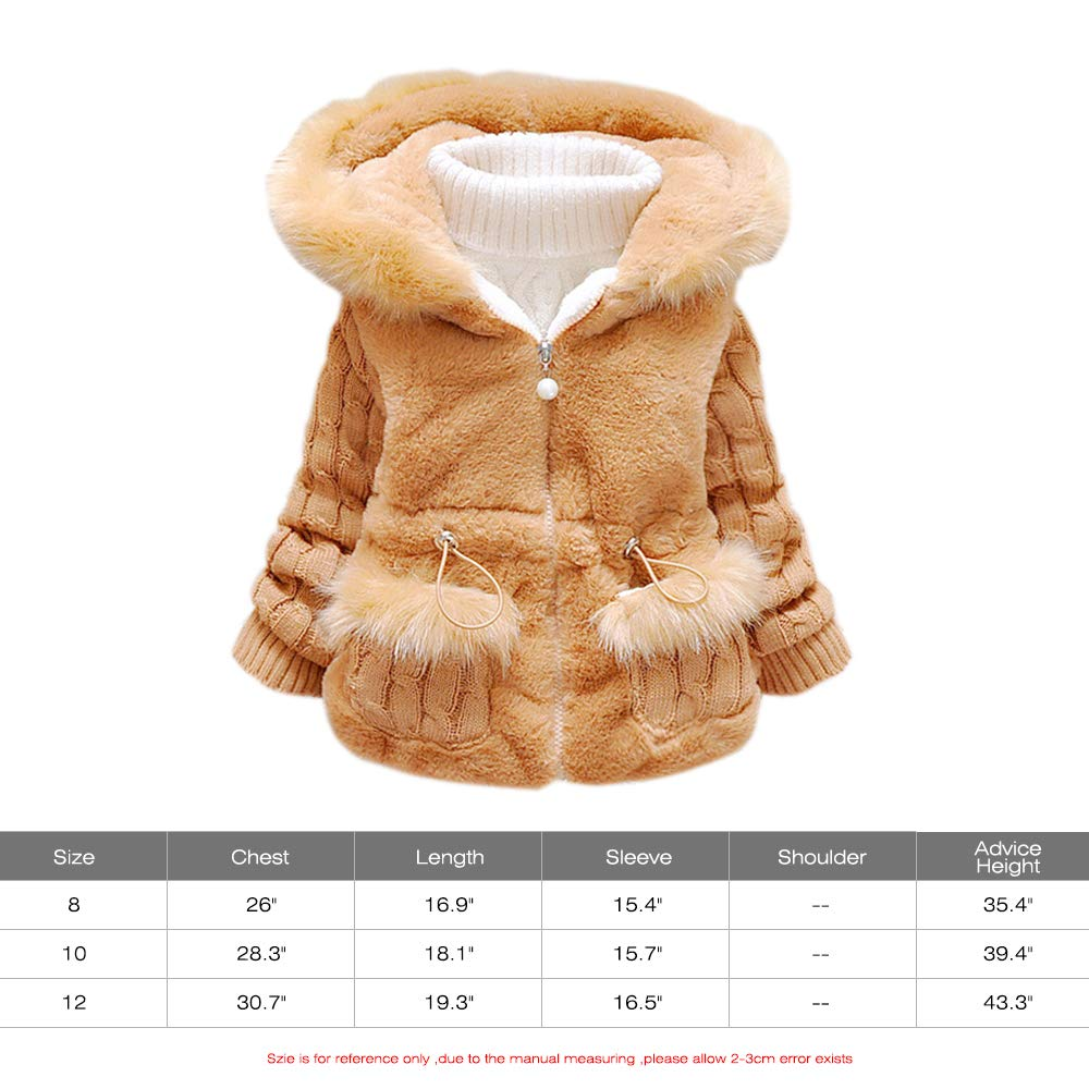 a4f2e0dd8c69 Amazon.com  Helen-sky Toddler Girl Winter Coat Knitted Fur Snowsuit ...