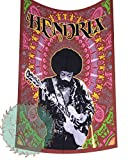 Colors Of Rajasthan Twin Size Jimi Hendrix The Rock Star Tapestry Indian Hippie Wall Hanging Bohemian Bedspread Hippy Mandala Cotton Home Decor Hippie Beach Blanket (Brown)