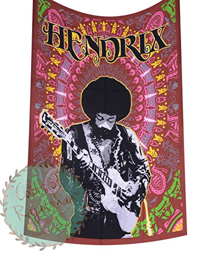 colors of rajasthan Twin Size Jimi Hendrix The Rock Star Tapestry Indian Hippie Wall Hanging Bohemian Bedspread Hippy Mandala Cotton Home Decor Hippie Beach Blanket (Brown) ()