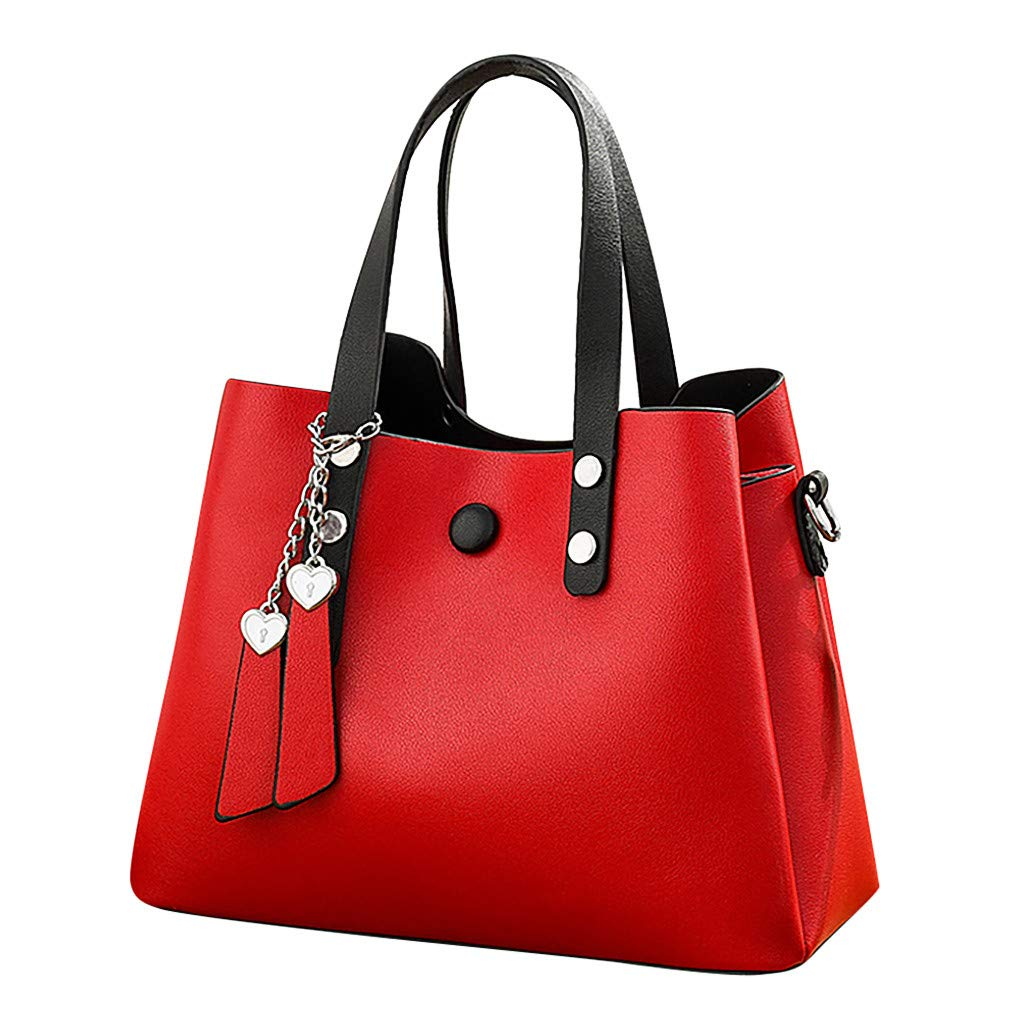 Women's Fashion Leather Shoulder Messenger Crossbody Bags Clutch Totes (Red)