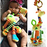Infant Baby Development Soft Giraffe Animal Handbells Rattles Handle Toys LO