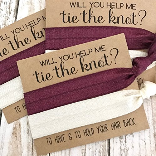Set of 5 Bridesmaid Proposal | Will You Help Me Tie The Knot | Hair Tie Favors (Burgundy + Ivory)