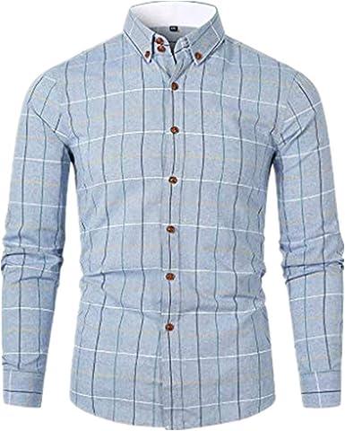 Camisas Hombre Manga Larga Camisas Hombre Grandes Camisas Hombre Traje Slim Fit Camisas Casual Hombre Moda Negocio Ocio ImpresióN A Cuadros Camisa de Manga Larga Tops Blusa: Amazon.es: Ropa y accesorios