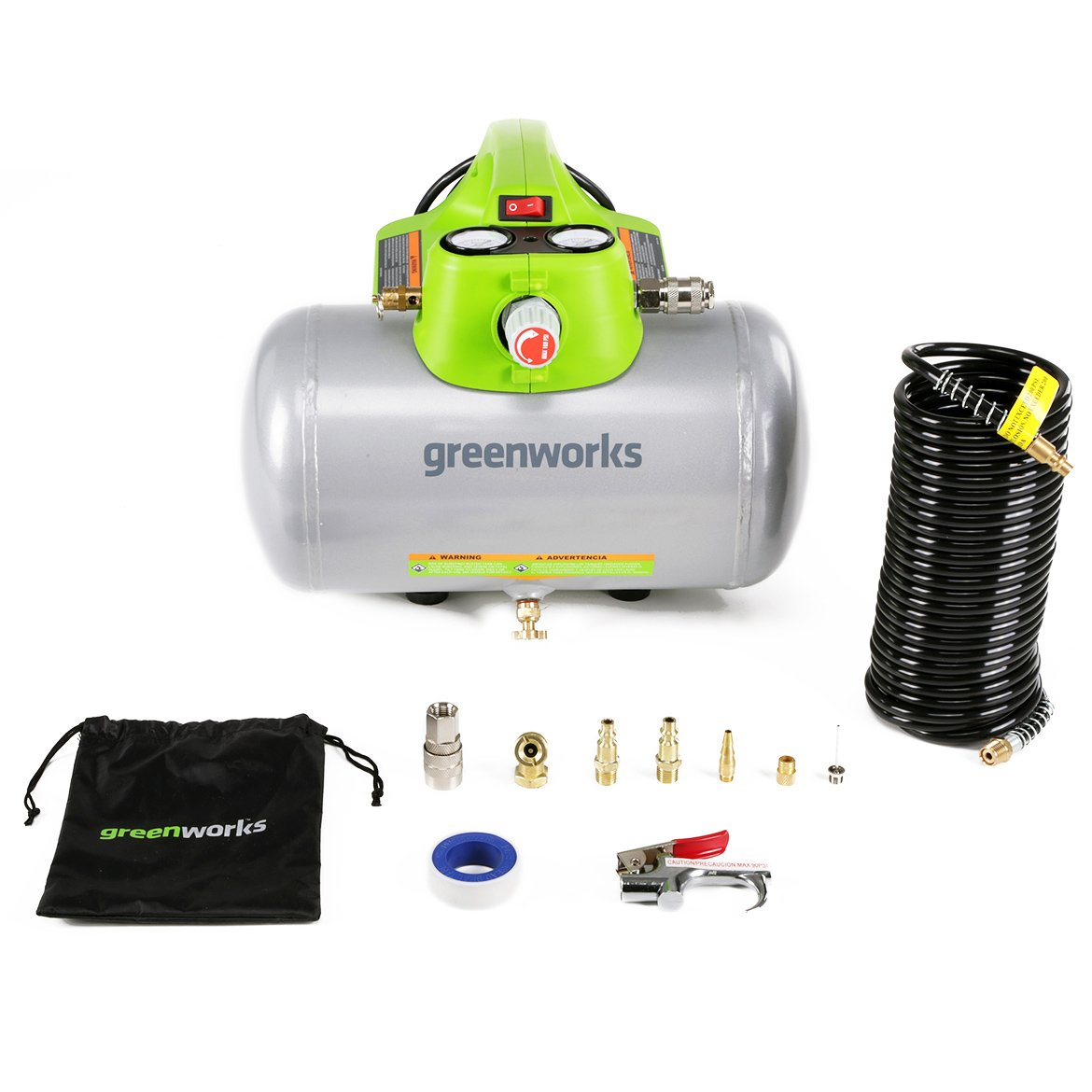 Greenworks 4101902 6 Gallon Horizontal Air Compressor with Induction Motor, w, Green