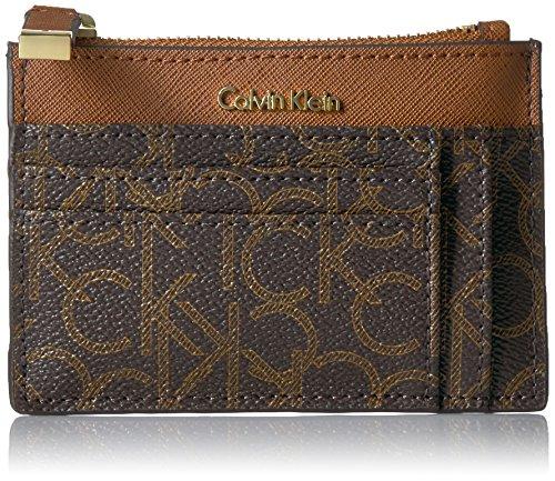 Calvin Klein Monogram Card Case Key Fob Credit Card Holder, BWN/KHK/LUG SAFFIANO, One Size