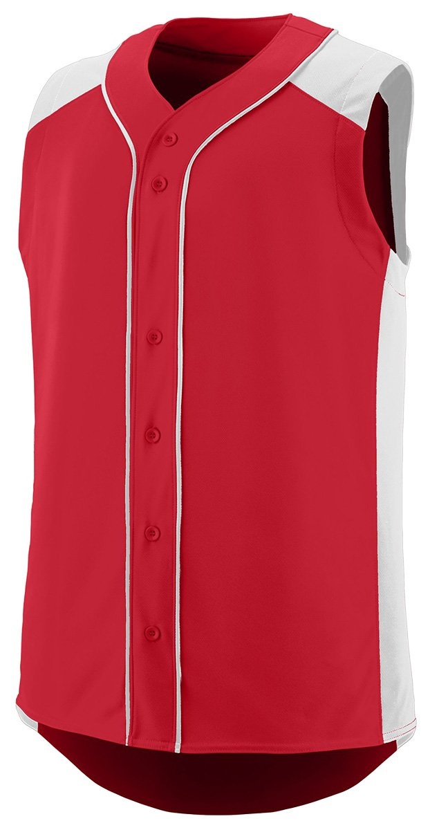 Augusta Sportswear Boys 'ノースリーブSlugger野球ジャージー B01B6OGXAE Small レッド/ホワイト レッド/ホワイト Small