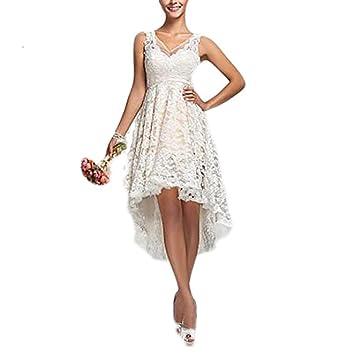 Fishlove Vintage Vestido De Novia High Low Country Lace Bridal Wedding Dresses W51