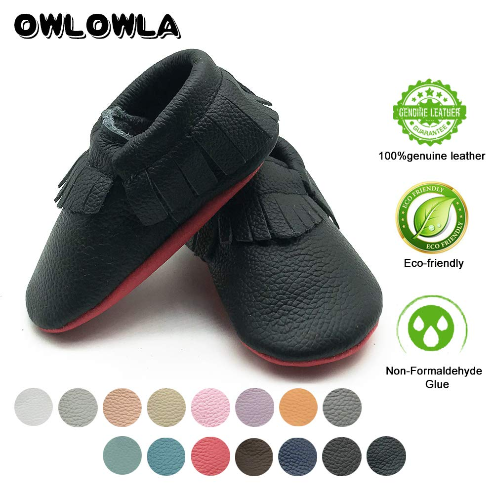 d6f837e87cc9 ... Owlowla Baby Moccasins Leather Soft Sole Newborn Crib Shoes for Boys  and Girls