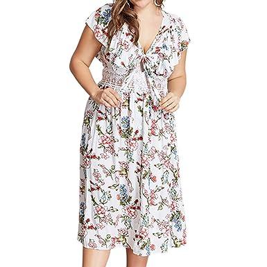 Amazon.com: WANQUIY Women Plus Size Dress Casual Floral ...
