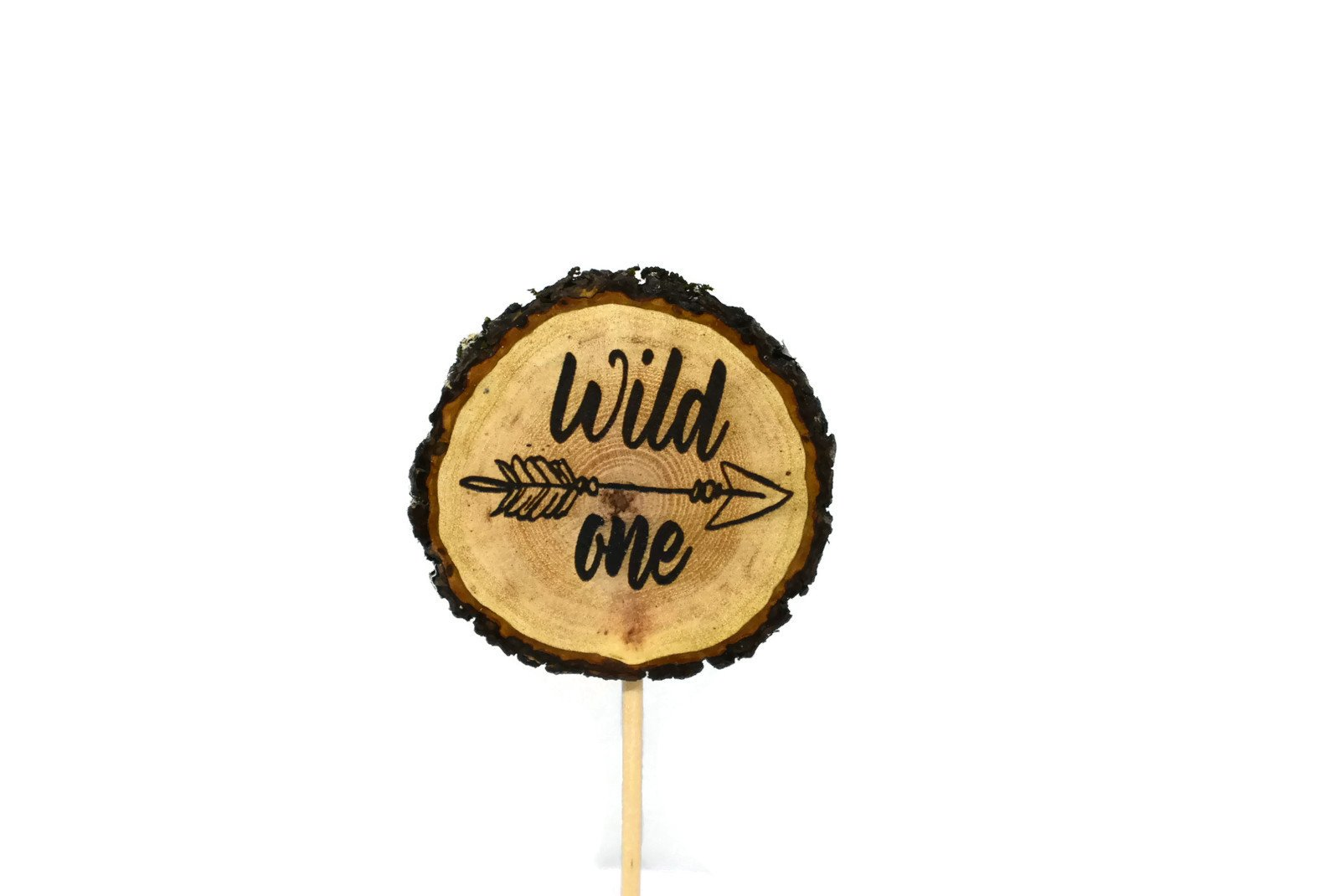 Wild One Rustic Engraved Cake Topper