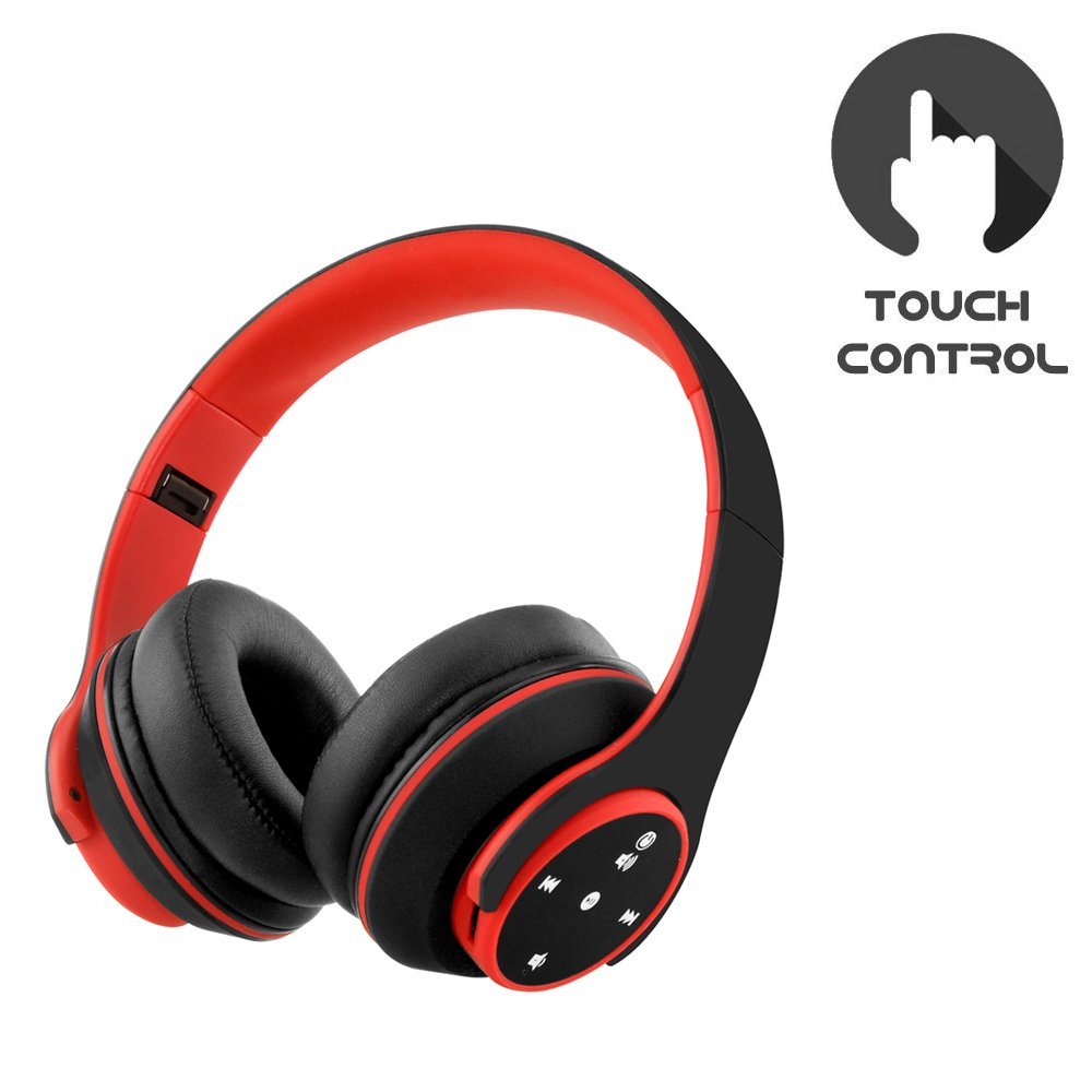Noise Cancelling Headphones Wireless Headset Foldable Touch Control Bluetooth Headphones Over Ear Microphone for PC/ PS4/ iOS/Android Smartphones Computers (Black)
