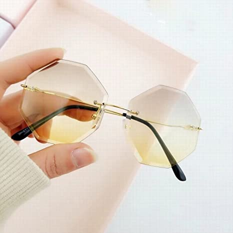 YL LY Gafas de Sol sin Marco de Lentes de Borde Gafas de Sol ...