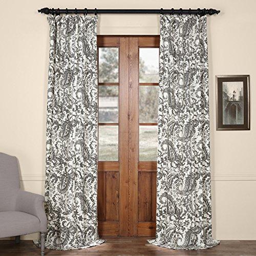 HPD HALF PRICE DRAPES PRCT-D09D-96 Edina Printed Cotton Curtain, Grey, 50 x 96