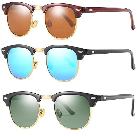07264320310d MAOLEN Polarized Clubmaster Sunglasses Women Men Semi Rimless Frame Retro  Sunglasses (brown+blue+
