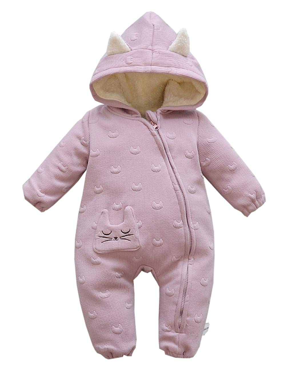 Fairy Baby Boy Girls Hooded Romper Thick Outwear Jumpsuit Fleece Snowsuit