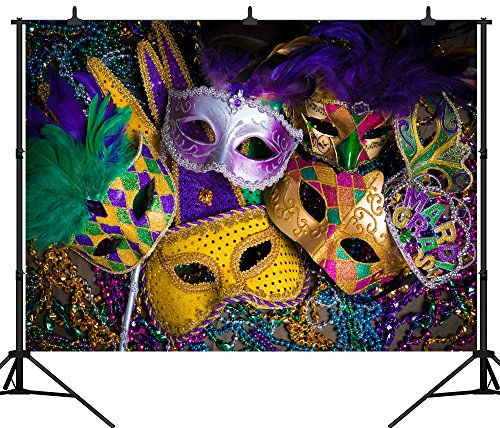 DePhoto 7X5FT(210X150CM) Carnival Mardi Gras Colorful Mask Poster Masquerade Seamless Vinyl Photography Backdrop Photo Background Studio Prop PGT140A ()