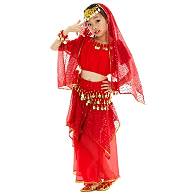 99215aa130b8 KINDOYO 5 Pcs Girls Belly Dance Costumes Egypt Indian Dancing Outfits (Red,US  XS
