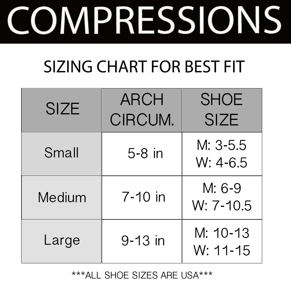 Compressions Plantar Fasciitis Socks (1 Pair) Foot Sleeves with Arch & Heel Support Treatment for Men & Women - Best to Brace Insoles for Relief (Small) by Compressions (Image #4)