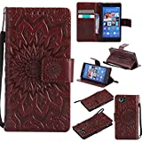 For Sony Xperia Z3 Mini/Compact Case [Brown],Cozy Hut [Wallet Case] Magnetic Flip Book Style Cover Case ,High Quality Classic New design Sunflower Pattern Design Premium PU Leather Folding Wallet Case With [Lanyard Strap] and [Credit Card Slots] Stand Function Folio Protective Holder Perfect Fit For Sony Xperia Z3 Mini/Compact 4,6 inch - brown