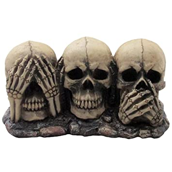 no evil skulls figurine for scary halloween decorations and spooky skeleton statues medieval fantasy home - Halloween Skull Decorations