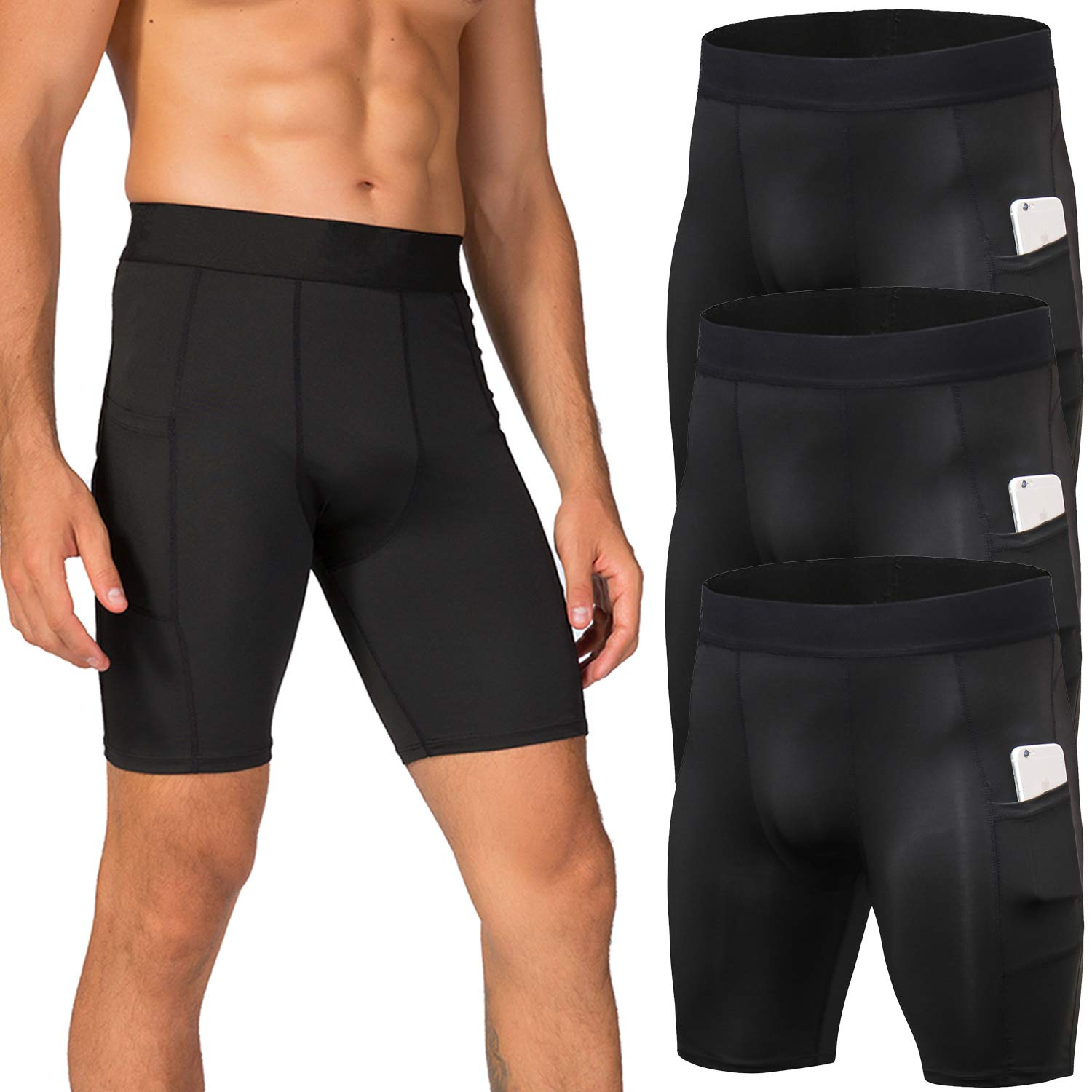 Lavento Men's Compression Shorts Sports Baselayer Cool Dry Tights (3 Pack-3815 Black,X-Large) by Lavento