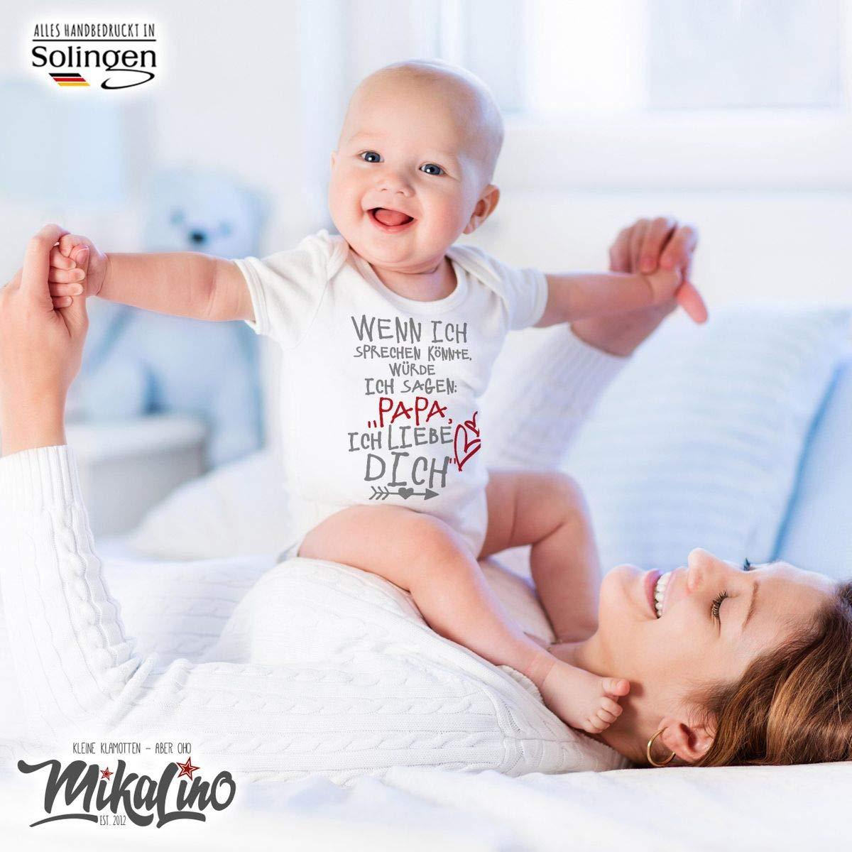 handbedruckt Mikalino Babybody mit Spruch f/ür Jungen M/ädchen Unisex Kurzarm Wenn ich sprechen k/önnte w/ürde ich Sagen Handmade with Love Papa ich Liebe Dich