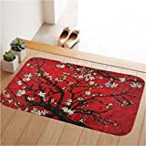 60cm x 40cm Red Flower Door Mat DesignsKitchen Bath Bathroom Shower Floor Home Door Mat Rug Non-Slip