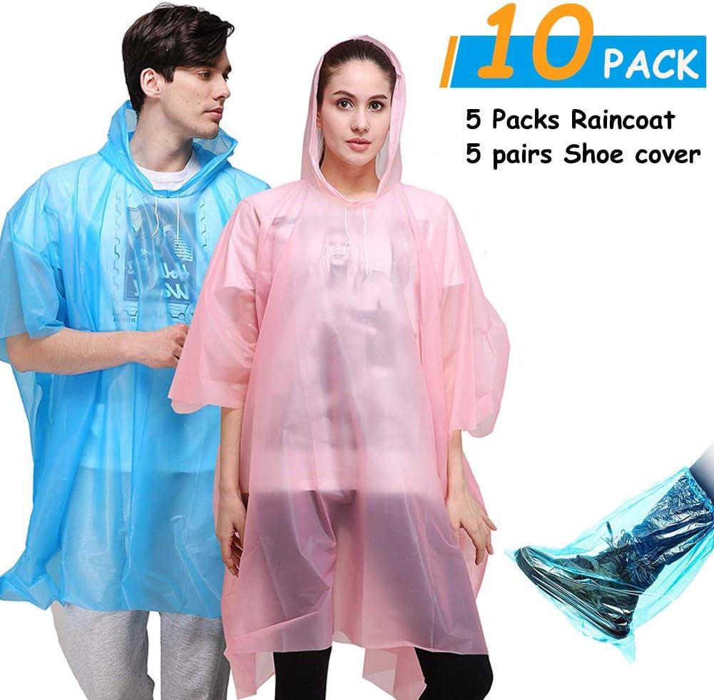 Ponchos de lluvia desechables impermeables duraderos y transparentes con capucha, paquete de 5, con 5 pares de fundas para zapatos: Amazon.es: Deportes y aire libre