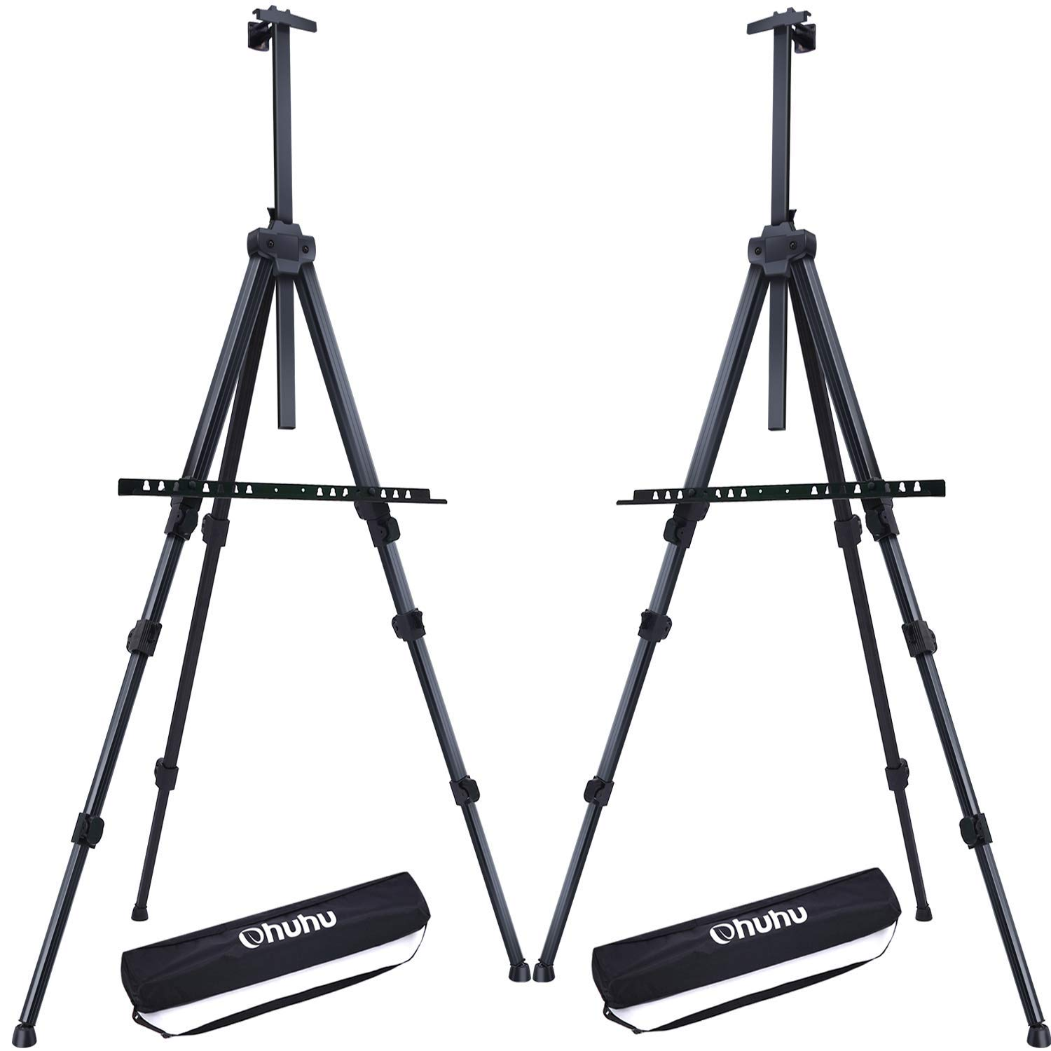 Display Easel Stand, Ohuhu 72'' Aluminum Metal Tripod Field Easel with Bag for Table-Top/Floor, 2-Pack Black Art Easels W/Adjustable Height from 25-72'' for Poster, Paint Back to School (Renewed)