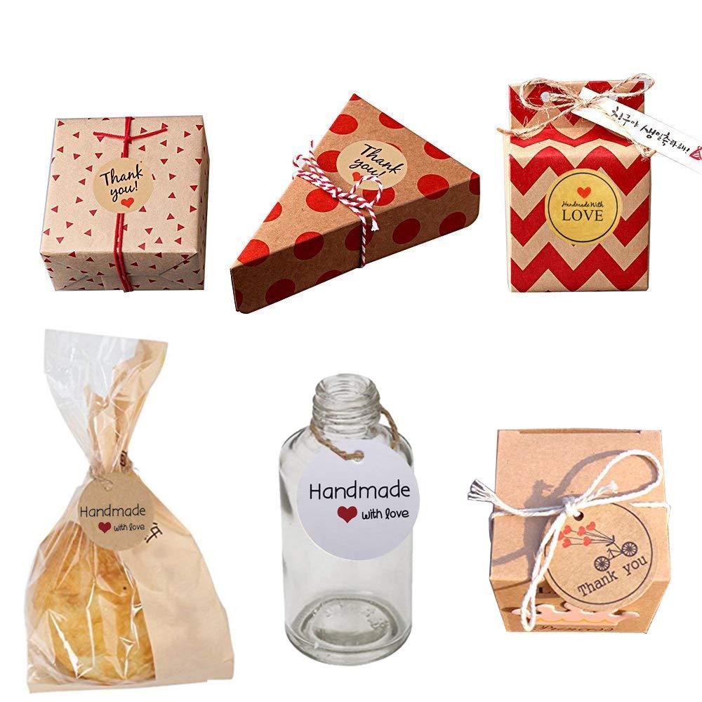 INTVN Geschenk Anh/änger Kraftpapier H/ängeetiketten mit Schnur /& Kraftpapier Aufkleber Rund Selbstklebend Etiketten f/ür Hochzeit Thanksgiving Weihnachten