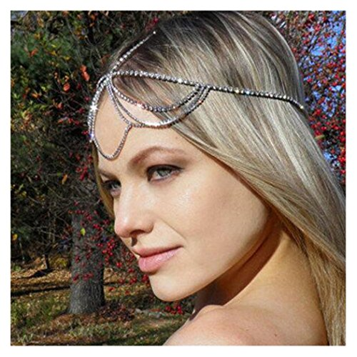 Simsly Head Chain Jewelry with Rhinestone Hair Headpiece for Women and Girls FV-066 (Silver)]()