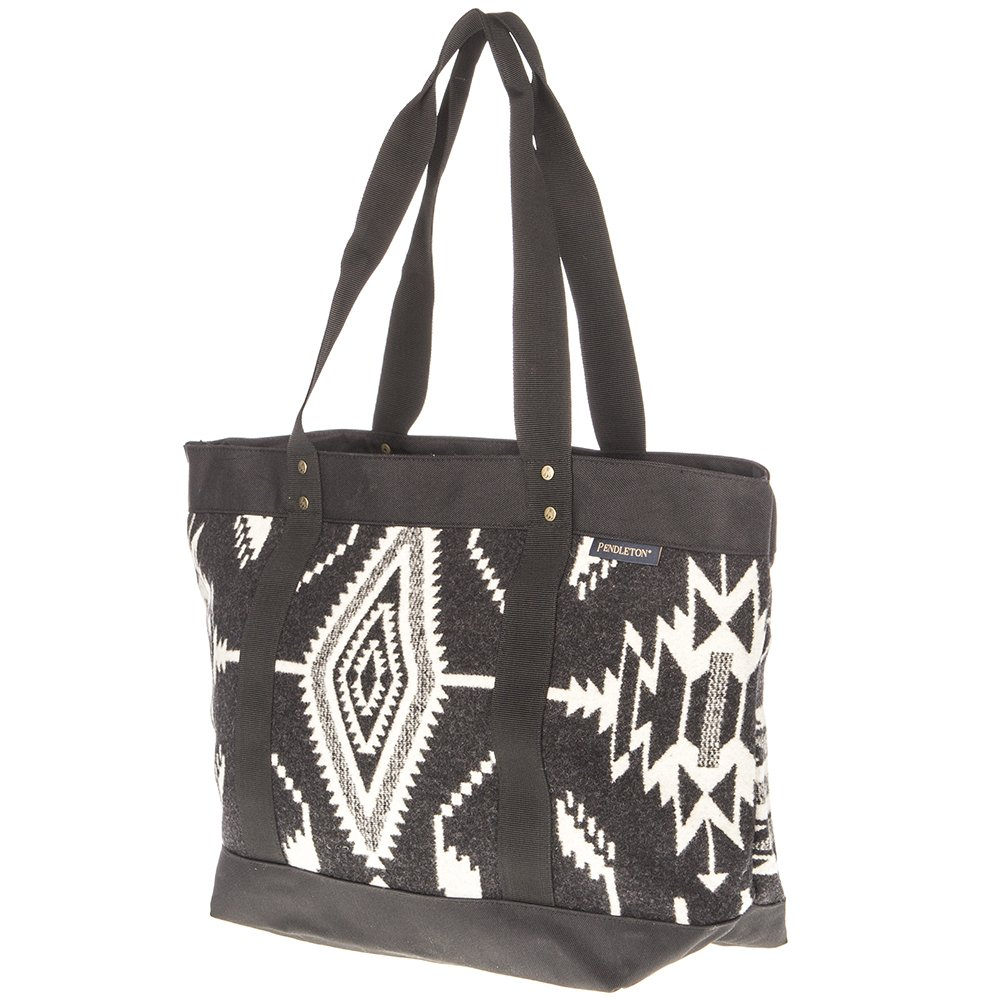 Pendleton Women's Tsi Mayoh Wool Jacquard Large Zip Tote, Tsi Mayoh, Black, One Size