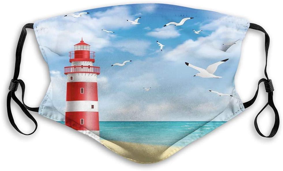 realistische Illustration Leuchtturm auf ruhiger K/üste Fliegende M/öwen Ozean Landschaft Strand Vermilion Blue Waschbare Halbgesicht Scarf f/ür M/änner Frauen Jungen M/ädchen,20x15cm