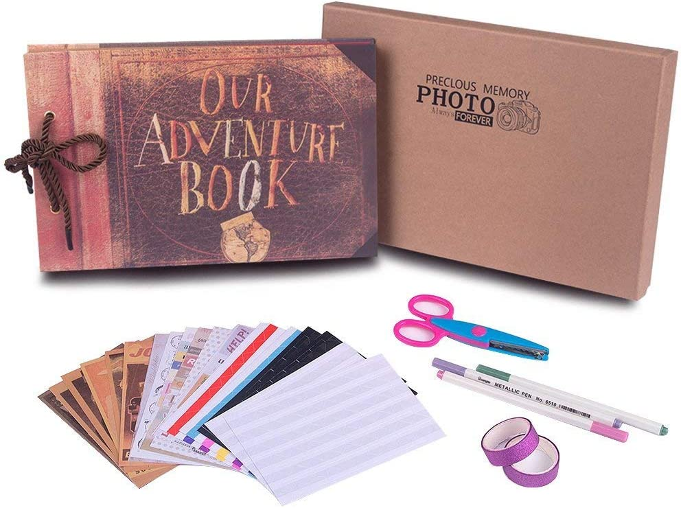 DIY Photo Album My Adventure Book Handmade Family Scrapbook Vintage Retro Memory Wedding Anniversary Photo Album for Travel Memory Book,Thanks Giving and Christmas