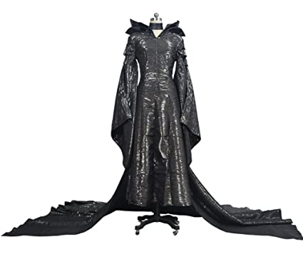 cosking black witch queen costume for women deluxe halloween cosplay show long black dress