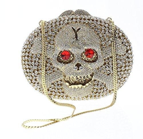 Ciel Jeweled Austrian Crystal Clutch Purse Handbag Luxury Evening Bag Skull Bones and Crossbones