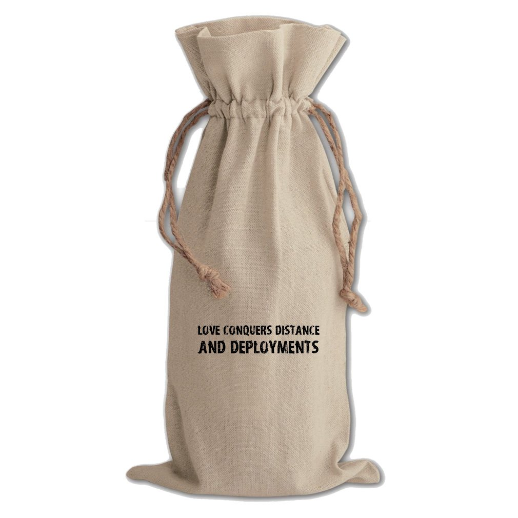 Love Conquers And Deployments Cotton Canvas Wine Bag, Cotton Drawstring