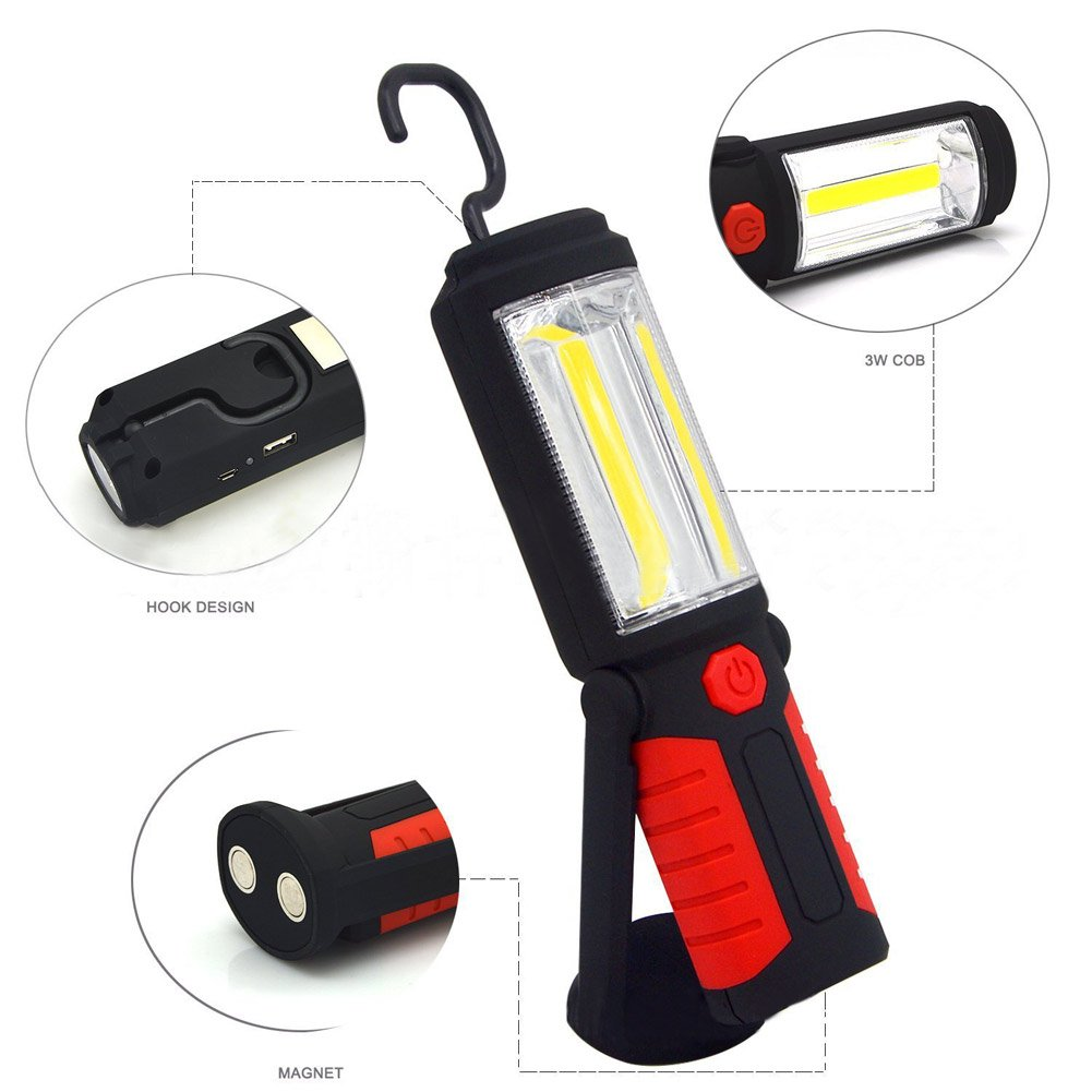 Zhuoman New Portable USB Rechargeable COB LED Flashlight Torch Work Light lanterna Magnetic Stand Hanging Lamp For Outdoor Camping by Zhuoman (Image #2)