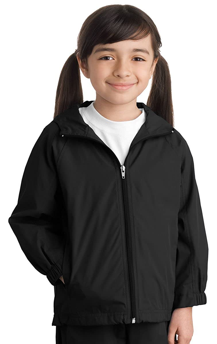 Small Sport-Tek Youth Stylish Sporty Hooded Raglan Sleeve Jacket Black