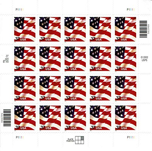 U.S. Flag Sheet of 20 x 37c Stamps - Scott 3630 - MNH