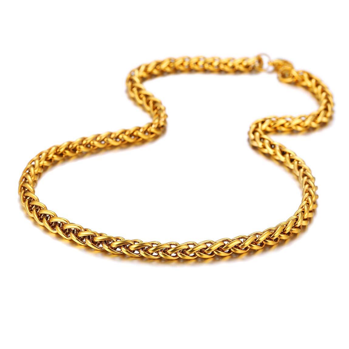 ChainsPro Collier Bl/é Cha/îne Maille Spiga Bl/é Corde Lien Wheat-Maillon Spiga 6MM-Longueur 46//51//55//61//66//71//76cm-Couleur Argent//Noir//Or Collier pour Homme Femme Unisex avec Coffret Cadeau
