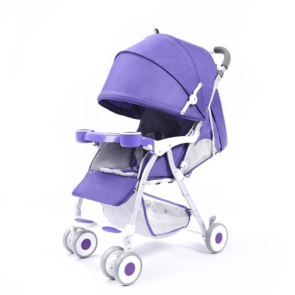 ベビーベビーカー超軽量ポータブル折りたたみリクライニングチャイルドハンドトロリー(緑)(紫)76 * 48 * 95cm ( Color : Purple ) B07C9WNWL4