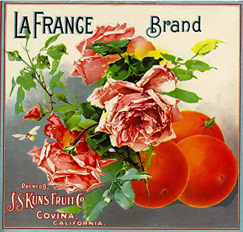 A SLICE IN TIME Covina La France Orange Citrus Fruit Crate Box Label Art Print