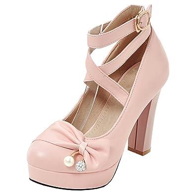 Artfaerie Damen Ankle Strap Blockabsatz High Heels Pumps mit Schleife und Plateau Mary Jane Riemchen Schuhe