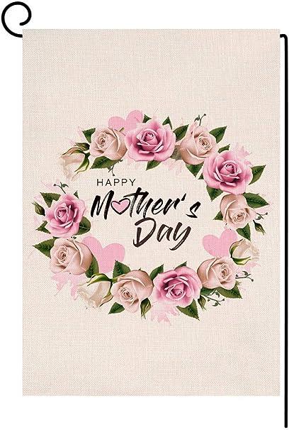 Happy Mothers Day Floral Petit Jardin Drapeau Vertical double face 12.5 x 18 in environ 45.72 cm